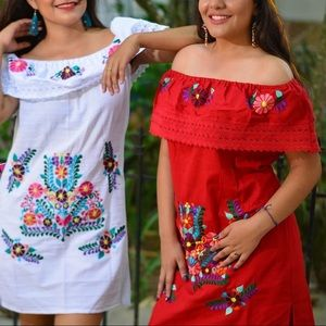 Red Mexican Dress Off the shoulder Embroidered